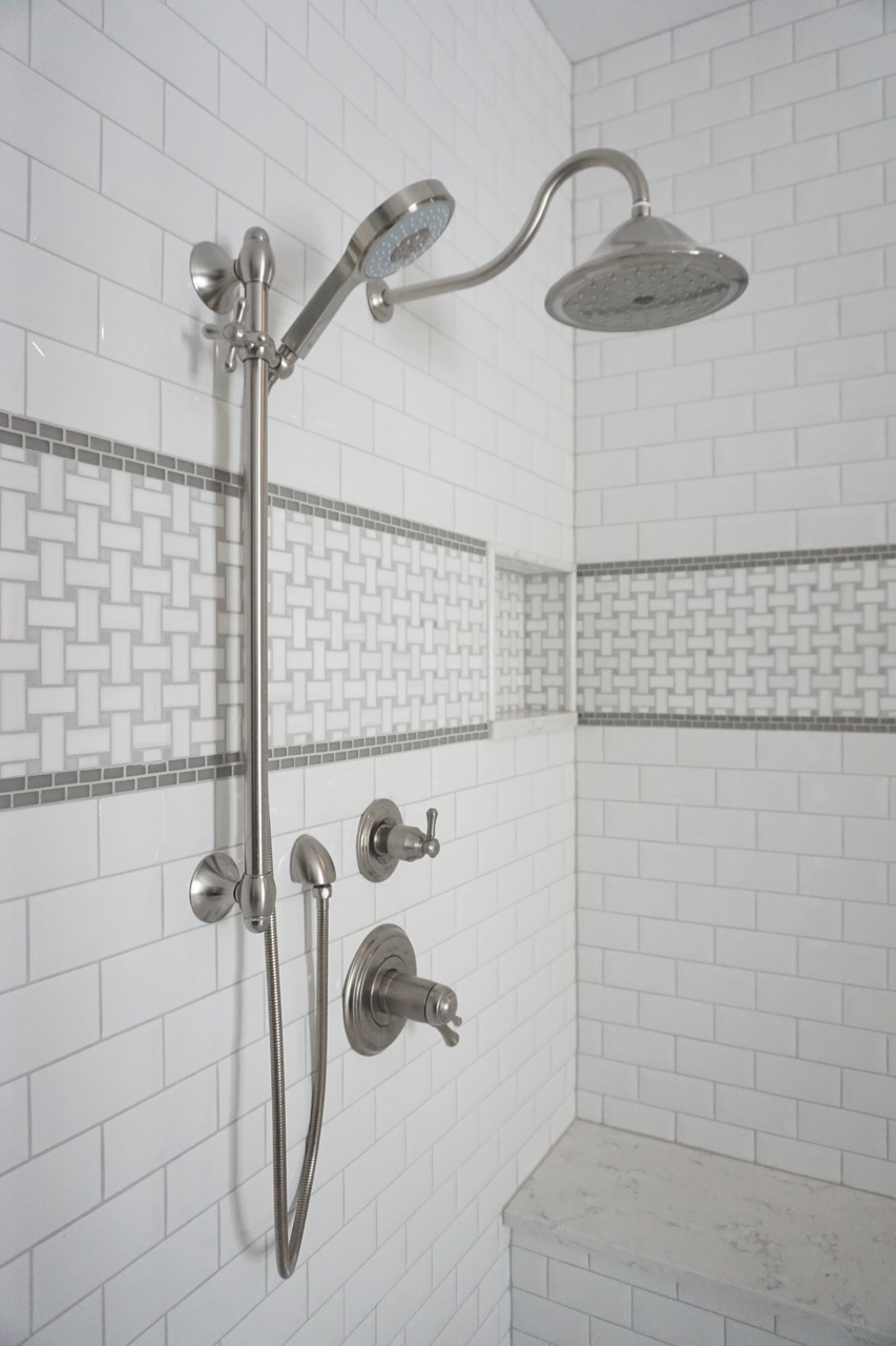 basketweave tile rain shower